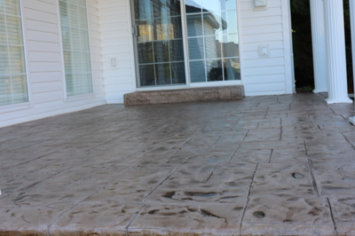 "Stamped patio with ""wet-look"""