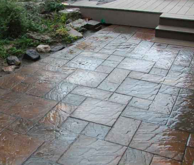 Paver style stamped concrete patio in Grand Rapids