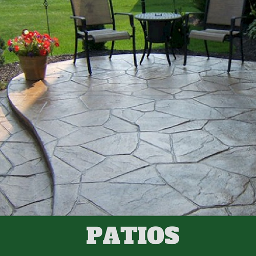 Residential patio in Grand Rapids, MI with a stamped finish.