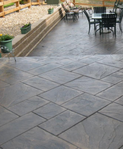 Stamped concrete walkway in Grand Rapids.